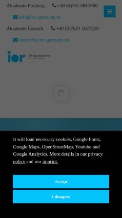 Vorschau der mobilen Webseite www.ior-germany.de, iOR Sprachschule