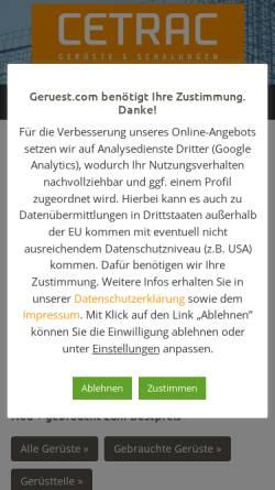 Vorschau der mobilen Webseite www.geruest.com, cetrac GmbH