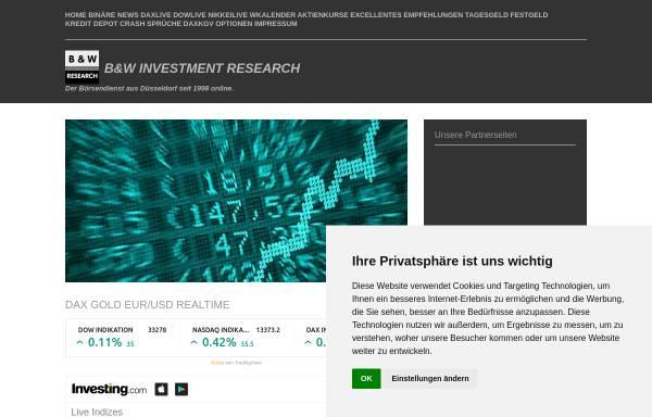 Vorschau von www.bwinvestment.de, B&W INVESTMENT RESEARCH