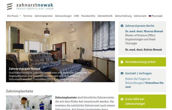 Vorschau von www.zahnarztnowak.de, Dr. med. dent. Marcus Nowak   Zahnarzt MSc Implantologie