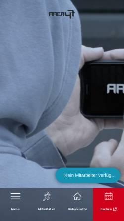 Vorschau der mobilen Webseite www.area47.at, Adventure Urlaub in der Area47