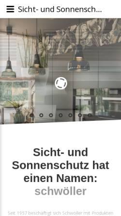 Vorschau der mobilen Webseite www.schwoeller.at, Schwöller - Alles zu Markisen und Vorhängen