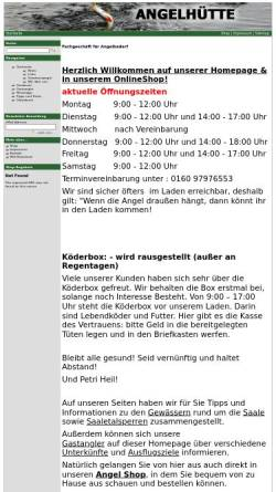 Vorschau der mobilen Webseite www.angelhuette.de, Angelhütte - Fachhandel für Angeln