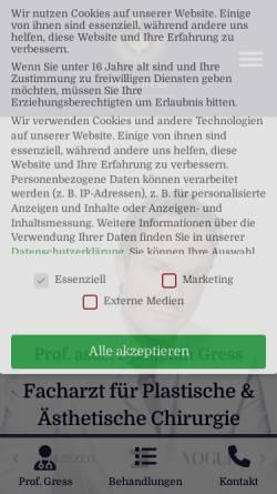 Vorschau der mobilen Webseite www.plast-chirurgie.de, Prof. Dr. Stefan Gress - Facharzt für plastische und ästhetische Chirurgie