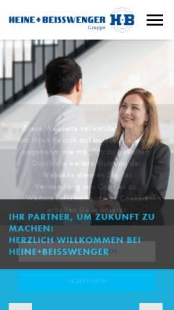 Vorschau der mobilen Webseite www.heinestahl.de, Heine + Beisswenger Stahl- und Metallgroßhandel