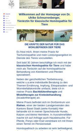 Vorschau der mobilen Webseite www.tierhomoeopathie-riehen.ch, Tierärztin für klassische Homöopathie für Kleintiere und Pferde
