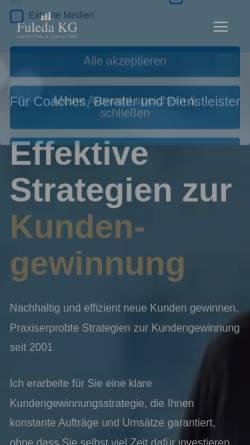 Vorschau der mobilen Webseite www.blickpunkt-einzelhandel.de, Unternehmensberatung für den Einzelhandel - Fuleda KG