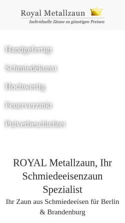 Vorschau der mobilen Webseite www.royal-metallzaun.de, Royal Metallzaun Berlin