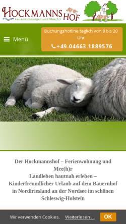 Vorschau der mobilen Webseite www.hockmannshof.de, Hockmannshof - Ferienwohnungen und mehr...
