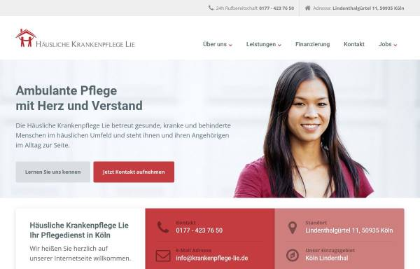Vorschau von www.krankenpflege-lie.de, Häusliche Krankenpflege Lie - Der Pflegedienst in Köln