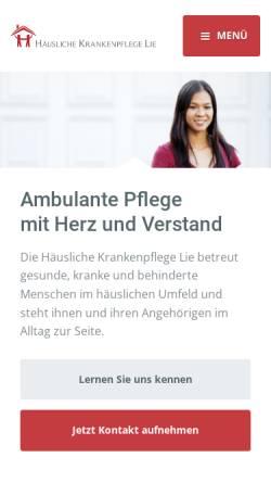 Vorschau der mobilen Webseite www.krankenpflege-lie.de, Häusliche Krankenpflege Lie - Der Pflegedienst in Köln