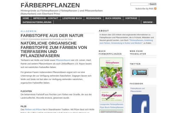 Vorschau von www.eberhardprinz.de, Hintergründe zu Färberpflanzen