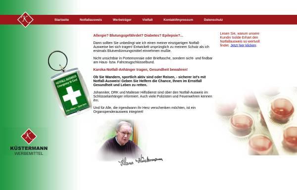 Vorschau von www.kw-notfallausweis.de, Küstermann Werbemittel Notfallausweis