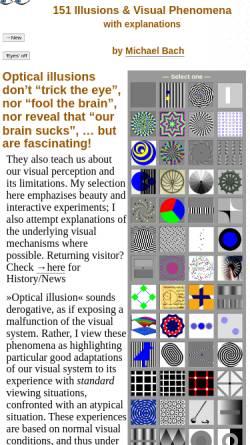Vorschau der mobilen Webseite www.michaelbach.de, Michael Bach - Eine Sammlung optischer Täuschungen und visueller Phänomene
