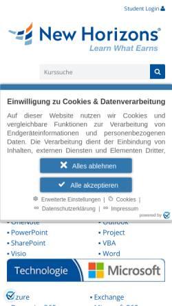 Vorschau der mobilen Webseite newhorizons-hamburg.de, New Horizons - IT Weiterbildung