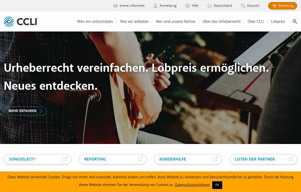 Vorschau von www.ccli.de, CCLI Lizenzagentur - Der christlichen Musik zuliebe