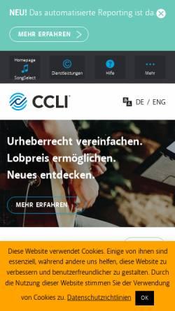 Vorschau der mobilen Webseite www.ccli.de, CCLI Lizenzagentur - Der christlichen Musik zuliebe