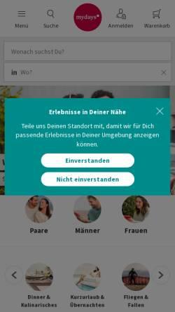 Vorschau der mobilen Webseite at.mydays.com, MYDAYS Österreich - Erlebnisgeschenke