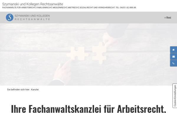 Vorschau von www.szymanski-rechtsanwaelte.de, Szymanski und Kollegen Rechtsanwälte, Inhaber Rechtsanwalt Jan Szymanski