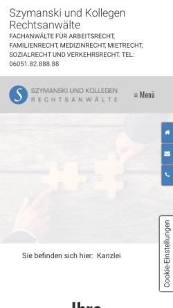 Vorschau der mobilen Webseite www.szymanski-rechtsanwaelte.de, Szymanski und Kollegen Rechtsanwälte, Inhaber Rechtsanwalt Jan Szymanski