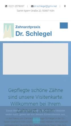 Vorschau der mobilen Webseite www.zahnarzt-schlegel.de, Zahnarzt Dr. Gregor Schlegel aus Köln