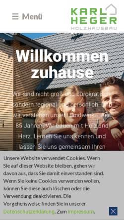Vorschau der mobilen Webseite www.heger-holzbau.de, Karl Heger Holzbau GmbH