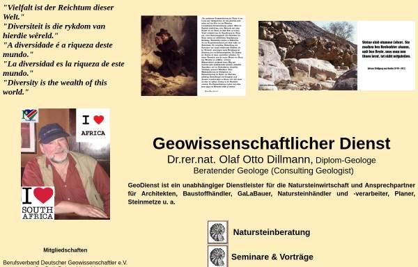 Vorschau von www.geodienst.de, Geowissenschaftlicher Dienst Dr. Olaf Otto Dillmann