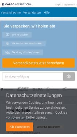 Vorschau der mobilen Webseite www.cargointernational.de, Logistik und Transporte von Cargo International
