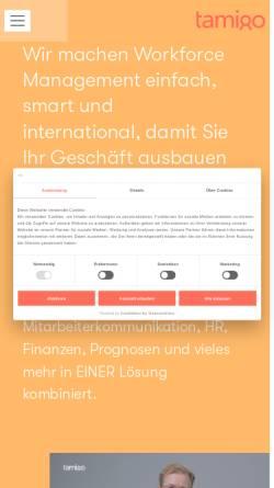 Vorschau der mobilen Webseite www.tamigo.de, Tamigo GmbH - Personaleinsatzplanung für den Einzelhandel