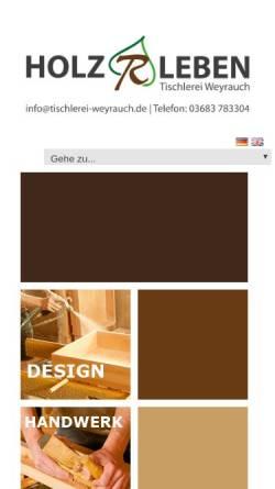 Vorschau der mobilen Webseite www.tischlerei-weyrauch.de, Tischlerei und Saunabau Weyrauch