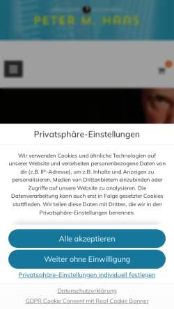 Vorschau der mobilen Webseite www.peter-m-haas.de, Peter Haas spielt Akkordeon und gibt Akkordeon-Unterricht in Berlin