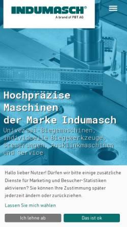 Vorschau der mobilen Webseite www.indumasch.de, Indumasch GmbH - Biegemaschinen für die Blechbearbeitung