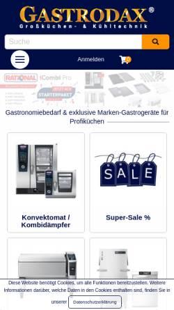 Vorschau der mobilen Webseite www.gastrodax.de, Gastrodax - Gastronomiebedarf und Großküchentechnik