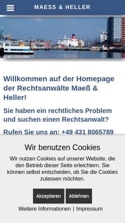 Vorschau der mobilen Webseite www.maess-heller.de, Rechtsanwälte Maeß & Heller, Kiel