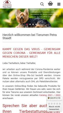 Vorschau der mobilen Webseite tierurnen-mit-herz.de, Tierurnen Petra Staadt ... und die Erinnerung bleibt.