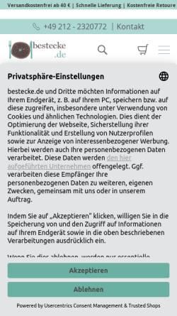 Vorschau der mobilen Webseite www.bestecke.de, Paul Wirths Bestecke GmbH & Co. KG