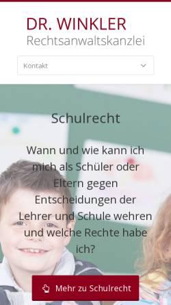 Vorschau der mobilen Webseite www.rechtsanwaltskanzlei-winkler.de, Rechtsanwalt Dr. Felix Winkler