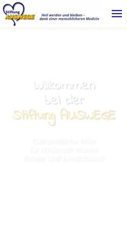 Vorschau der mobilen Webseite www.stiftung-auswege.de, Stiftung Auswege - Therapeutische Auswege für chronisch Kranke