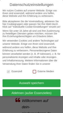 Vorschau der mobilen Webseite www.dein-niedersachsen.de, Niedersachsen und die Nordsee