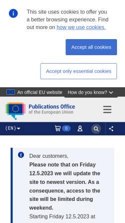 Vorschau der mobilen Webseite publications.europa.eu, Amt für Veröffentlichungen der Europäischen Union
