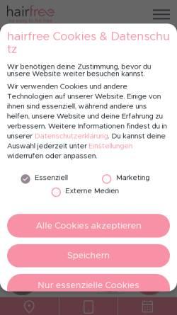 Vorschau der mobilen Webseite www.hairfree.com, hairfree GmbH