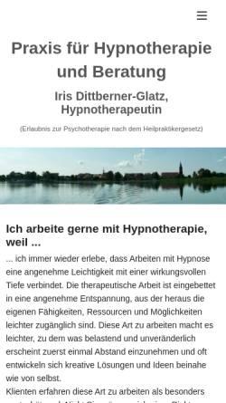 Vorschau der mobilen Webseite www.hypnotherapie-beratung.de, Hypnotherapiepraxis Köpenick, Iris Dittberner-Glatz