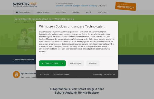 Vorschau von www.autopfand-profi.de, Autopfand-Profi GmbH München