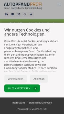 Vorschau der mobilen Webseite www.autopfand-profi.de, Autopfand-Profi GmbH München