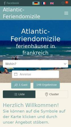 Vorschau der mobilen Webseite www.atlantic-feriendomizile.de, Atlantic Feriendomizile