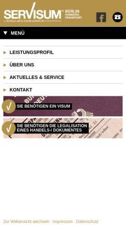 Vorschau der mobilen Webseite www.servisum.de, SerVisum Konsular & Visum Agentur GmbH