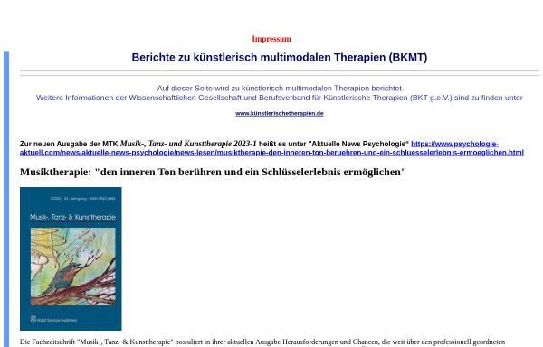 Vorschau von www.bkmt.de, Berufsverband für Kunst-, Musik- und Tanztherapie