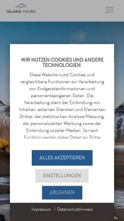 Vorschau der mobilen Webseite www.islandtours.at, Island Tours Österreich