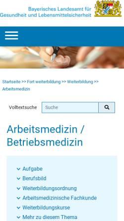 Vorschau der mobilen Webseite www.lgl.bayern.de, Asumed - Bayerische Akademie für Arbeits-, Sozial- und Umweltmedizin
