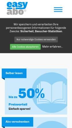 Vorschau der mobilen Webseite www.easyabo.de, Easy abo Zeitschriften Service